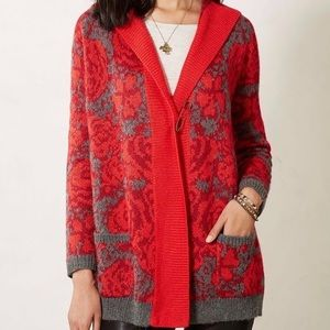Anthropologie Rose Printed Hooded Cardigan